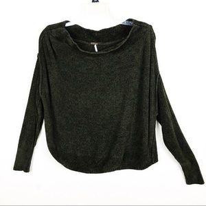 Free People Green Long Sleeve Sweater Top